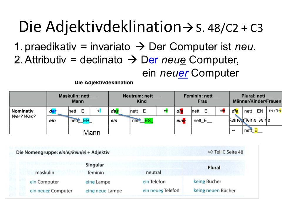 Die Adjektivdeklination  S. 48/C2 + C3 1.praedikativ = invariato  Der Computer ist neu. 2.Attributiv = declinato  Der neue Computer, ein neuer Comp