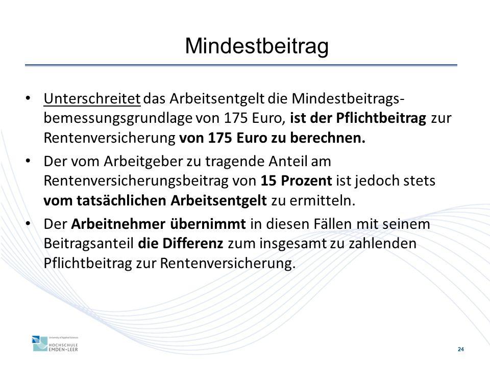 24 Mindestbeitrag Unterschreitet das Arbeitsentgelt die Mindestbeitrags- bemessungsgrundlage von 175 Euro, ist der Pflichtbeitrag zur Rentenversicherung von 175 Euro zu berechnen.