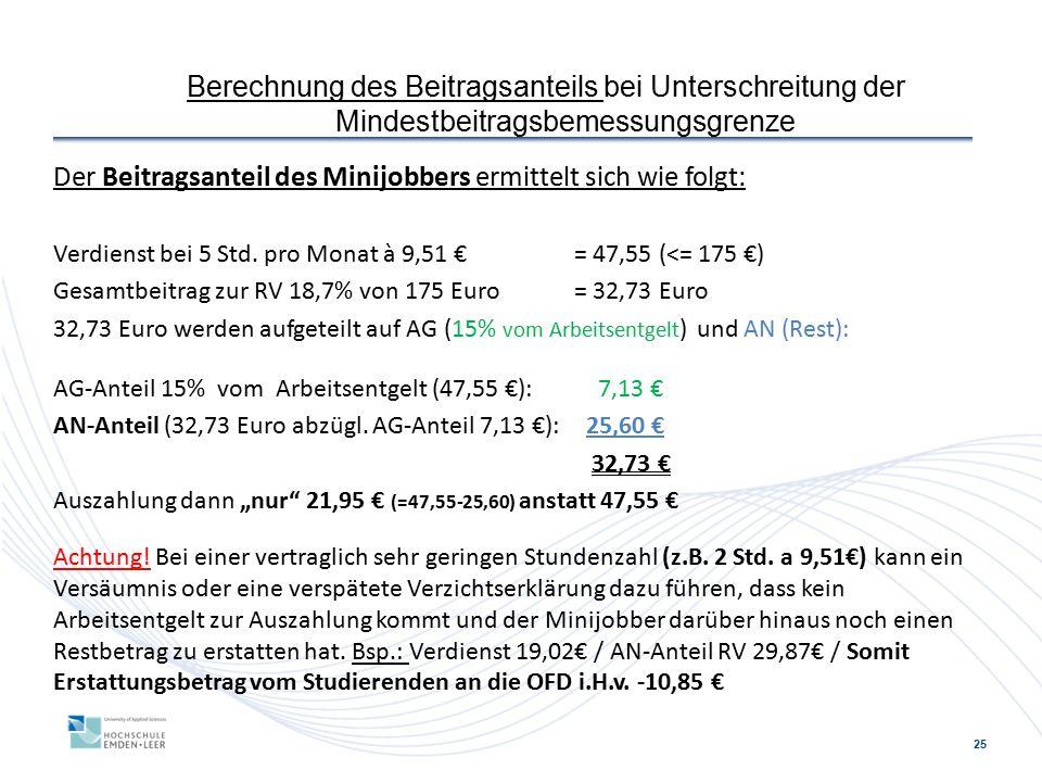 25 Berechnung des Beitragsanteils bei Unterschreitung der Mindestbeitragsbemessungsgrenze Der Beitragsanteil des Minijobbers ermittelt sich wie folgt: Verdienst bei 5 Std.