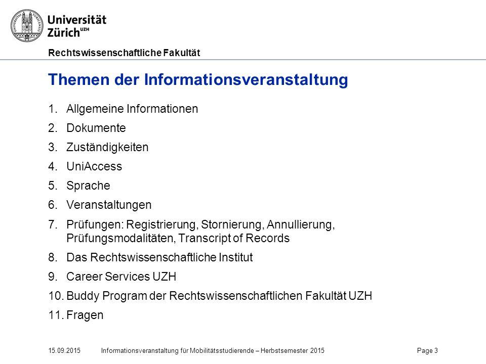 Rechtswissenschaftliche Fakultät 15.09.2015Page 44 11.