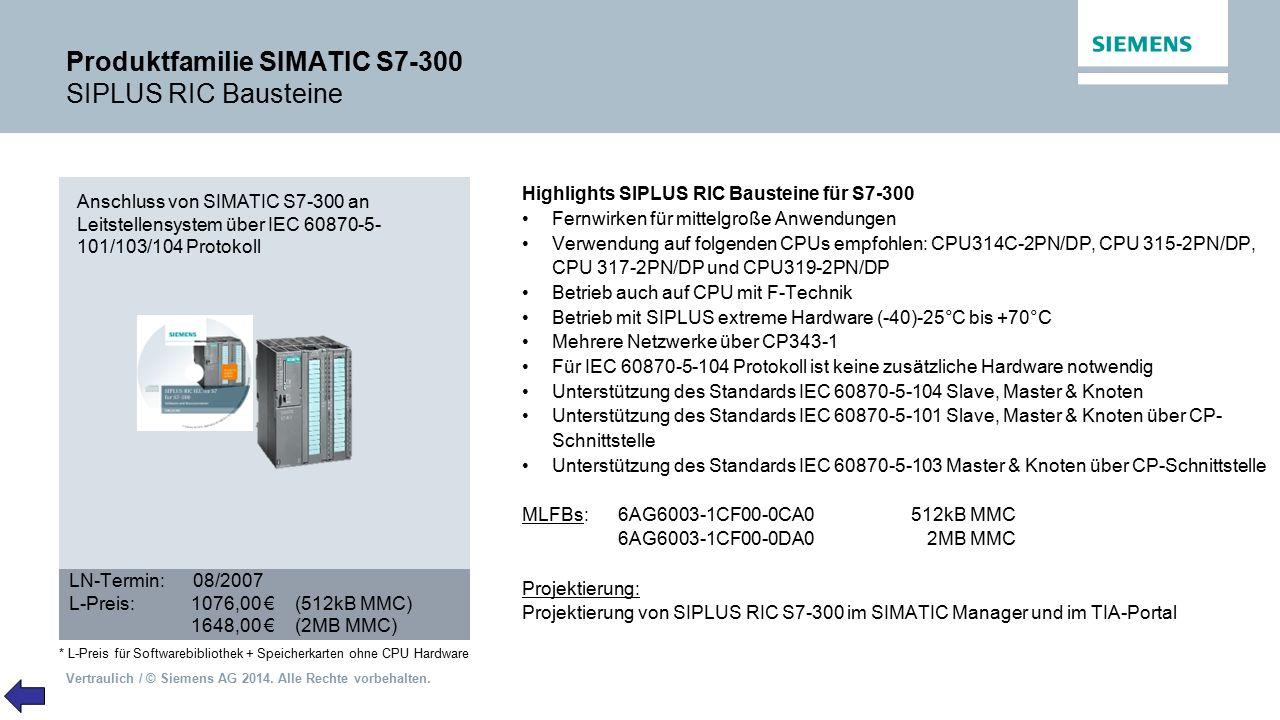 Vertraulich / © Siemens AG 2014. Alle Rechte vorbehalten. Produktfamilie SIMATIC S7-300 SIPLUS RIC Bausteine Highlights SIPLUS RIC Bausteine für S7-30