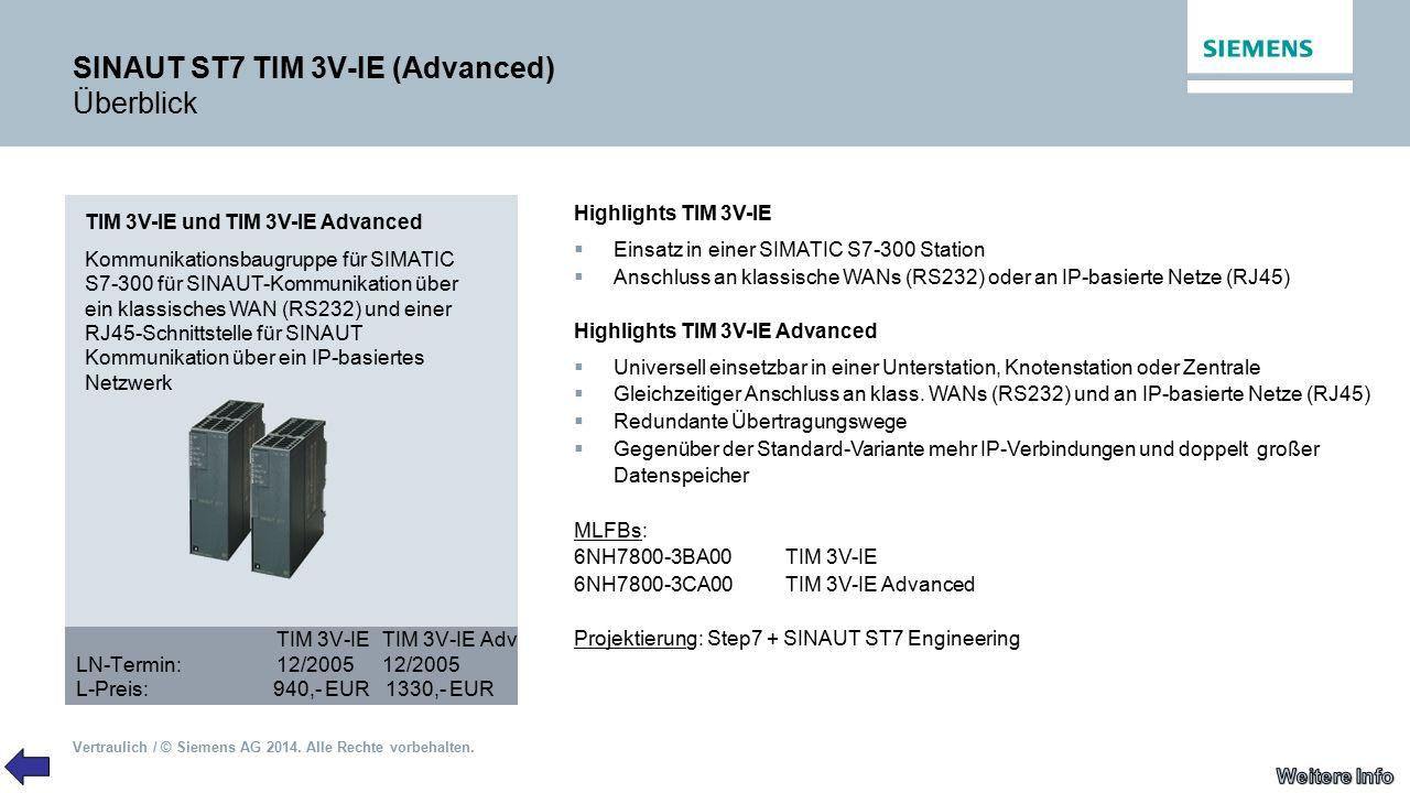 Vertraulich / © Siemens AG 2014. Alle Rechte vorbehalten. SINAUT ST7 TIM 3V-IE (Advanced) Überblick TIM 3V-IE und TIM 3V-IE Advanced Kommunikationsbau