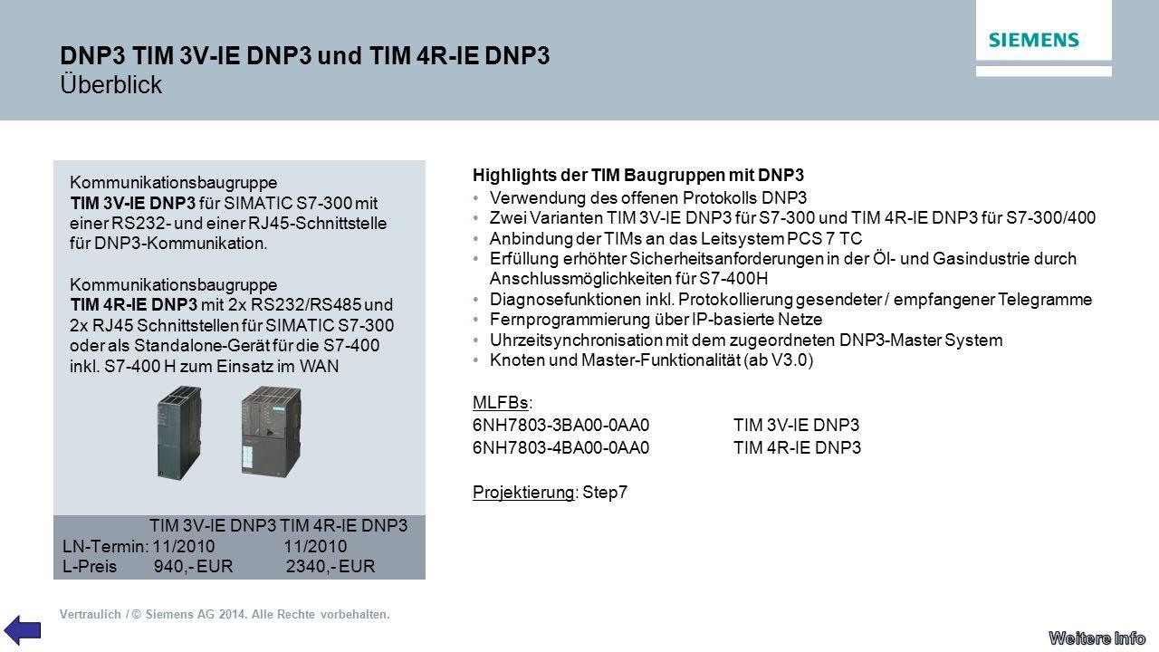 Vertraulich / © Siemens AG 2014. Alle Rechte vorbehalten. DNP3 TIM 3V-IE DNP3 und TIM 4R-IE DNP3 Überblick Kommunikationsbaugruppe TIM 3V-IE DNP3 für