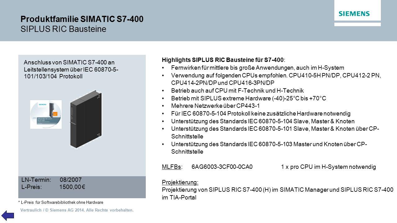 Vertraulich / © Siemens AG 2014. Alle Rechte vorbehalten. Produktfamilie SIMATIC S7-400 SIPLUS RIC Bausteine Highlights SIPLUS RIC Bausteine für S7-40