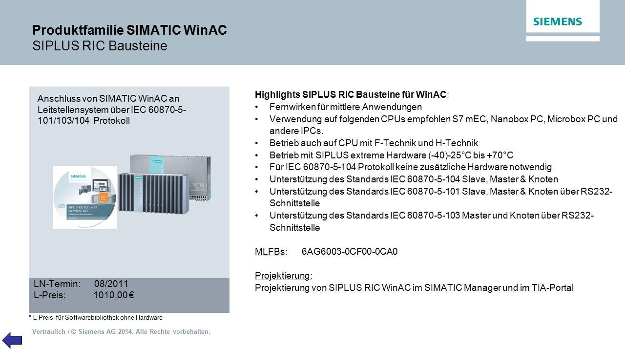 Vertraulich / © Siemens AG 2014. Alle Rechte vorbehalten. Produktfamilie SIMATIC WinAC SIPLUS RIC Bausteine Highlights SIPLUS RIC Bausteine für WinAC: