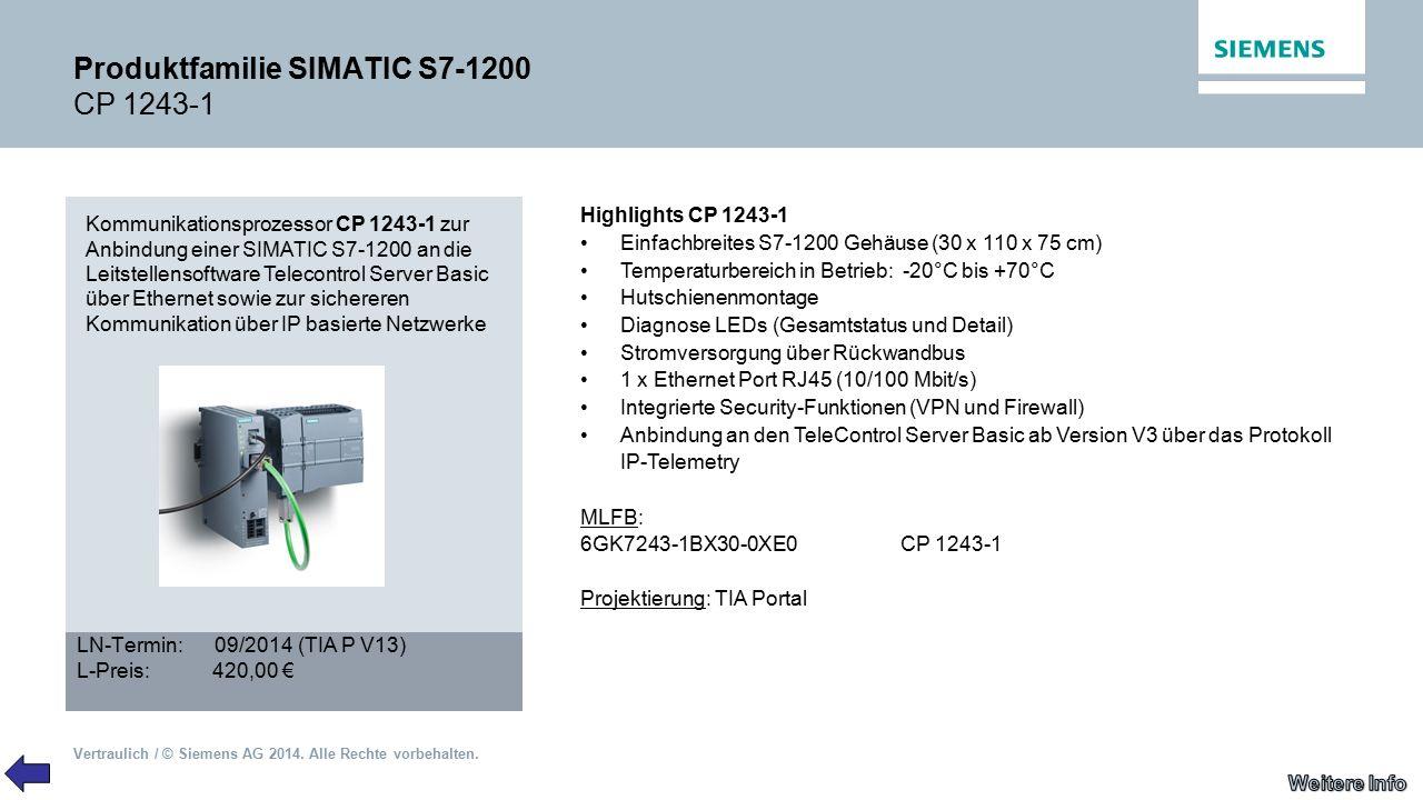 Vertraulich / © Siemens AG 2014. Alle Rechte vorbehalten. Produktfamilie SIMATIC S7-1200 CP 1243-1 Kommunikationsprozessor CP 1243-1 zur Anbindung ein