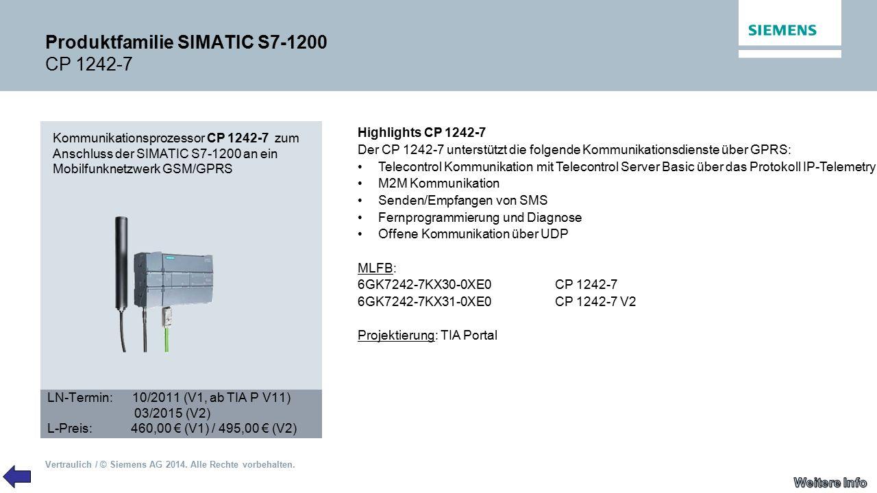 Vertraulich / © Siemens AG 2014. Alle Rechte vorbehalten. Produktfamilie SIMATIC S7-1200 CP 1242-7 Kommunikationsprozessor CP 1242-7 zum Anschluss der