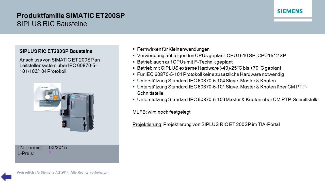 Vertraulich / © Siemens AG 2014. Alle Rechte vorbehalten. Produktfamilie SIMATIC ET200SP SIPLUS RIC Bausteine SIPLUS RIC ET200SP Bausteine Anschluss v
