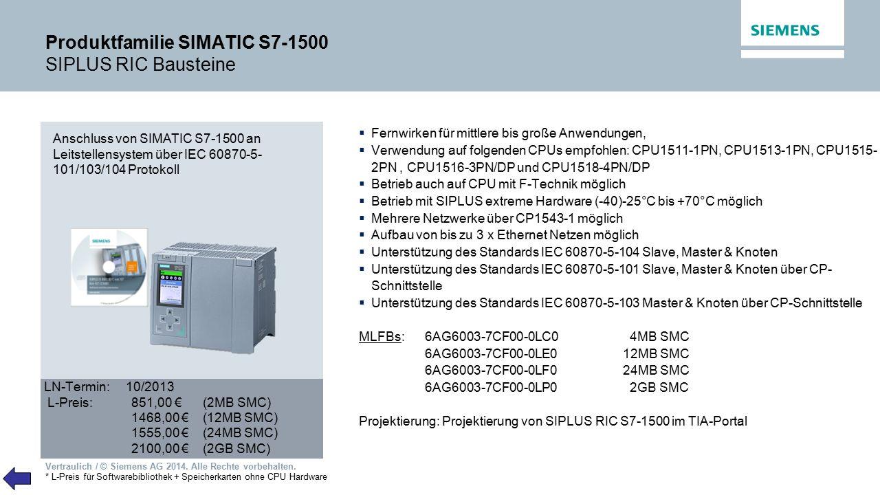 Vertraulich / © Siemens AG 2014. Alle Rechte vorbehalten. Produktfamilie SIMATIC S7-1500 SIPLUS RIC Bausteine LN-Termin: 10/2013 L-Preis:851,00 € (2MB