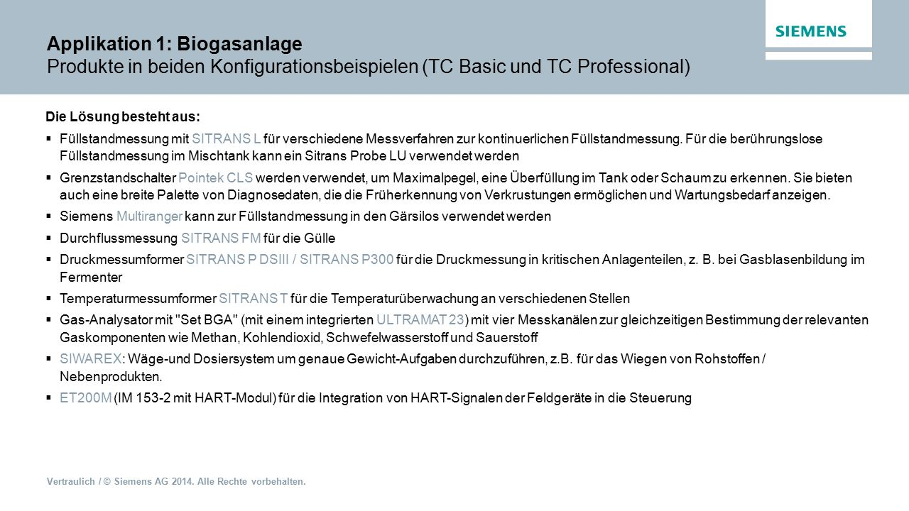 Vertraulich / © Siemens AG 2014. Alle Rechte vorbehalten. Applikation 1: Biogasanlage Produkte in beiden Konfigurationsbeispielen (TC Basic und TC Pro