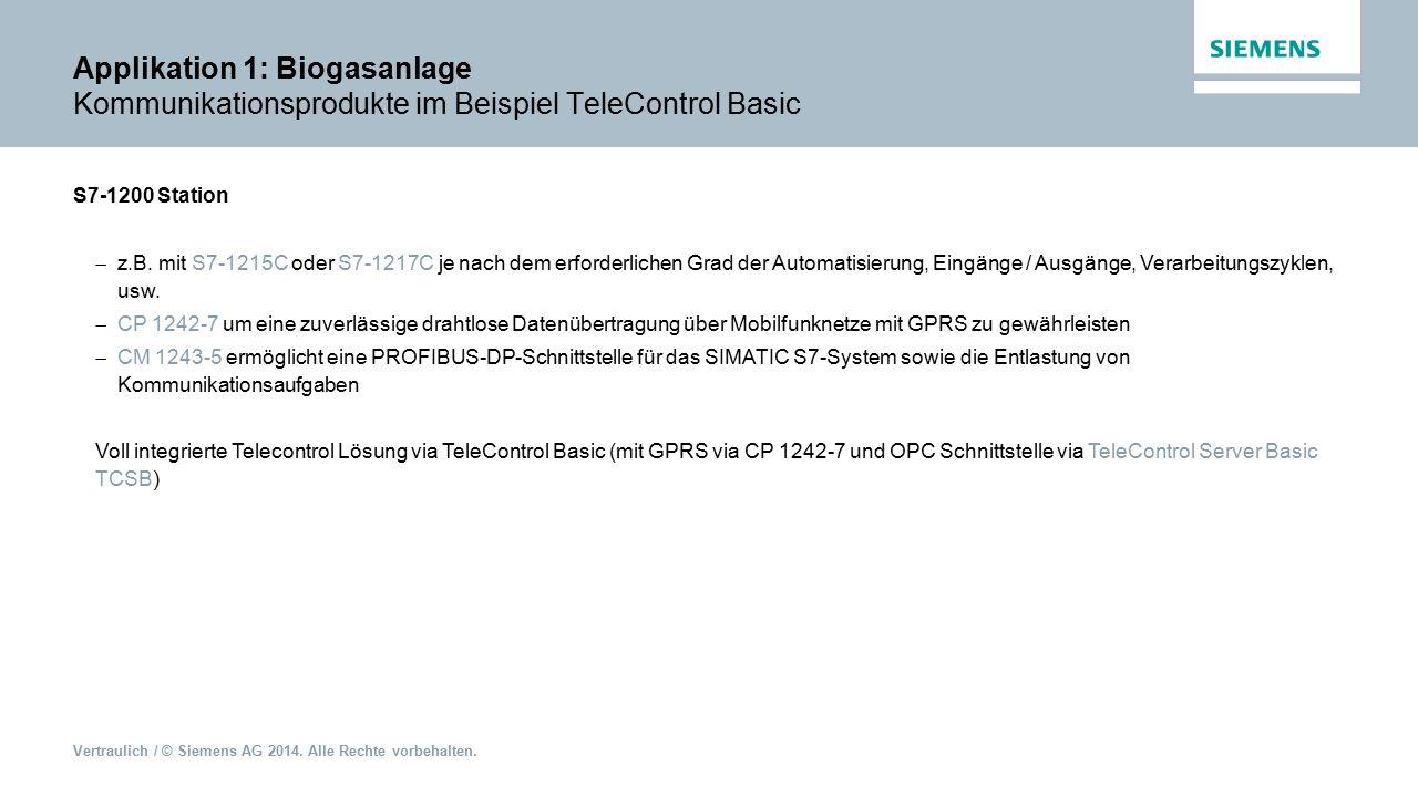 Vertraulich / © Siemens AG 2014. Alle Rechte vorbehalten. Applikation 1: Biogasanlage Kommunikationsprodukte im Beispiel TeleControl Basic S7-1200 Sta