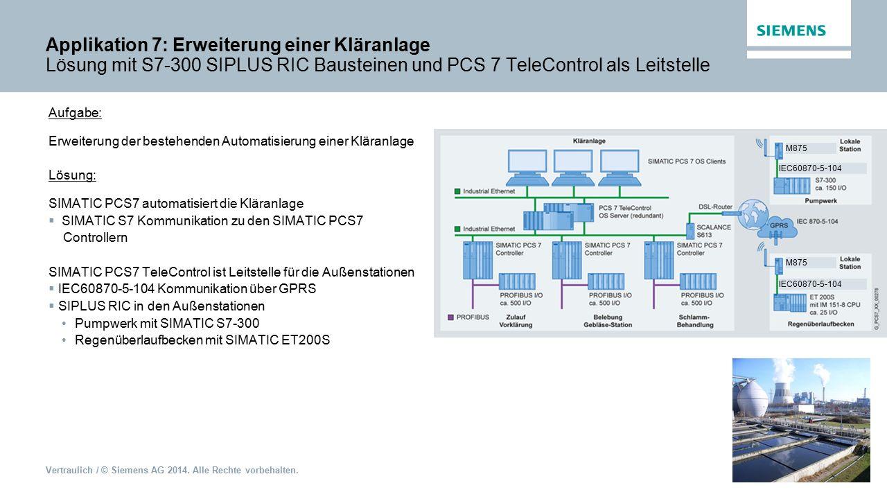 Vertraulich / © Siemens AG 2014. Alle Rechte vorbehalten. Applikation 7: Erweiterung einer Kläranlage Lösung mit S7-300 SIPLUS RIC Bausteinen und PCS