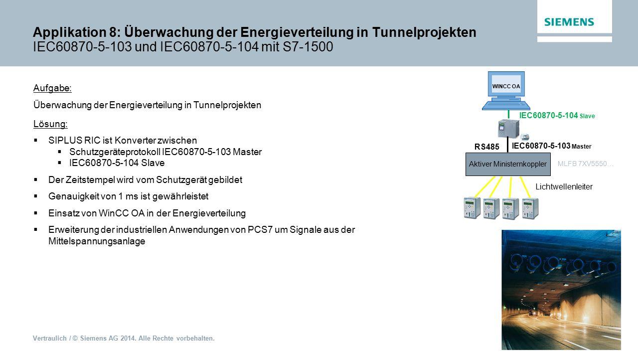 Vertraulich / © Siemens AG 2014. Alle Rechte vorbehalten. Applikation 8: Überwachung der Energieverteilung in Tunnelprojekten IEC60870-5-103 und IEC60