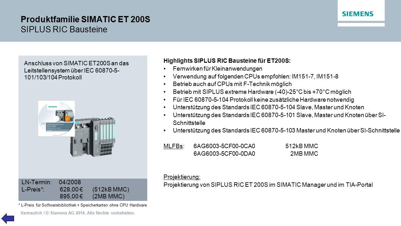 Vertraulich / © Siemens AG 2014. Alle Rechte vorbehalten. Produktfamilie SIMATIC ET 200S SIPLUS RIC Bausteine Highlights SIPLUS RIC Bausteine für ET20