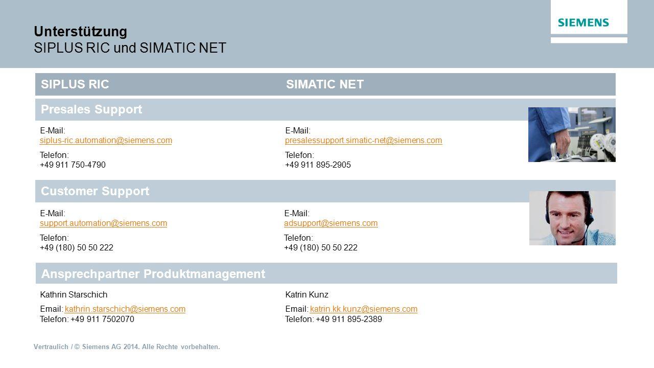 Vertraulich / © Siemens AG 2014. Alle Rechte vorbehalten. Unterstützung SIPLUS RIC und SIMATIC NET E-Mail: siplus-ric.automation@siemens.com Telefon: