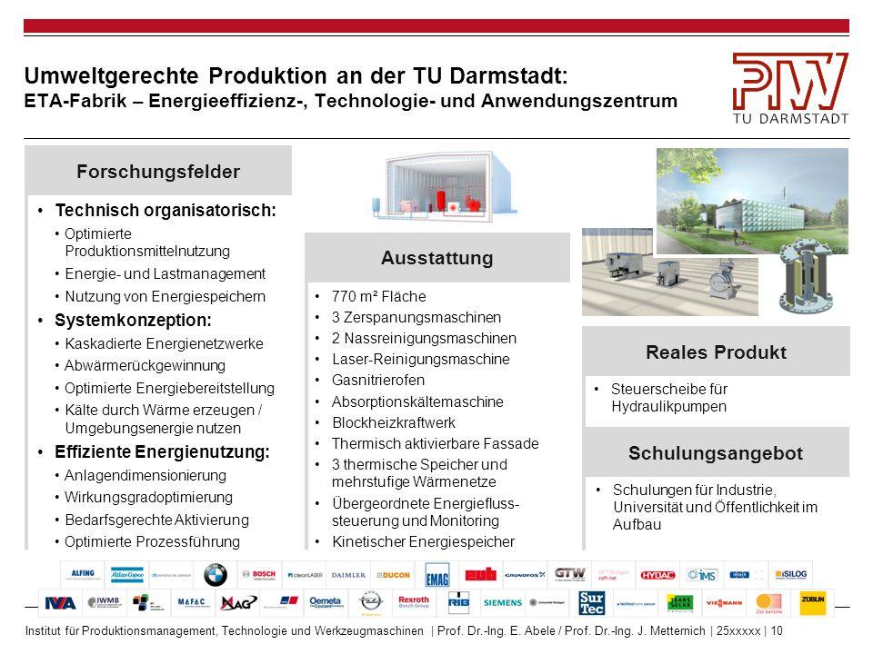 Institut für Produktionsmanagement, Technologie und Werkzeugmaschinen | Prof. Dr.-Ing. E. Abele / Prof. Dr.-Ing. J. Metternich | 25xxxxx | 10 Umweltge