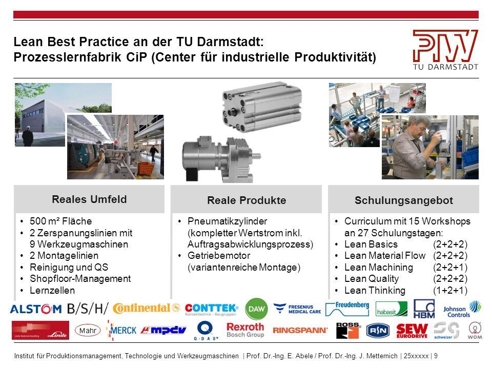 Institut für Produktionsmanagement, Technologie und Werkzeugmaschinen | Prof. Dr.-Ing. E. Abele / Prof. Dr.-Ing. J. Metternich | 25xxxxx | 9 Lean Best