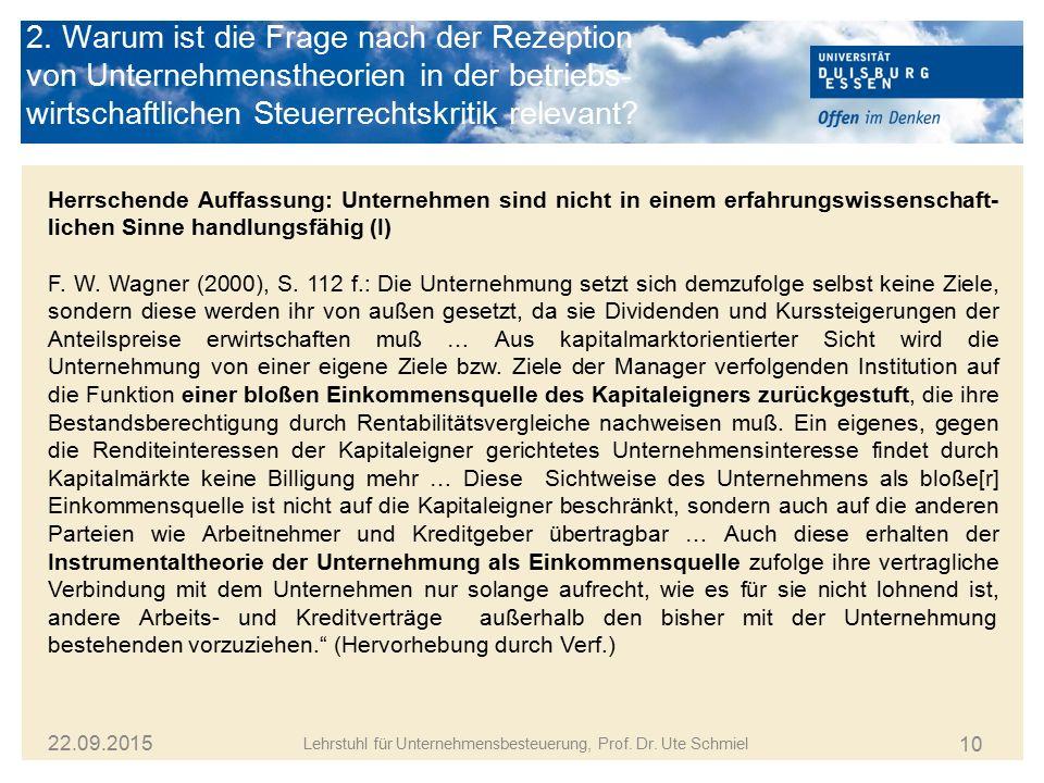 10 Lehrstuhl für Unternehmensbesteuerung, Prof. Dr. Ute Schmiel 22.09.2015 Herrschende Auffassung: Unternehmen sind nicht in einem erfahrungswissensch