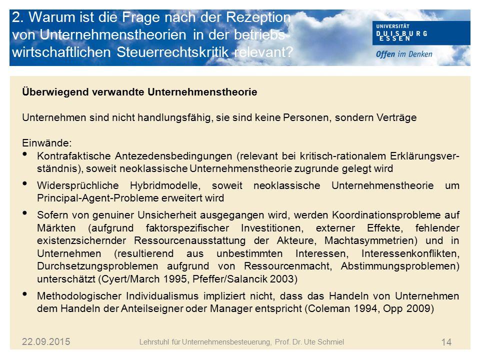 14 Lehrstuhl für Unternehmensbesteuerung, Prof. Dr. Ute Schmiel 22.09.2015 Überwiegend verwandte Unternehmenstheorie Unternehmen sind nicht handlungsf