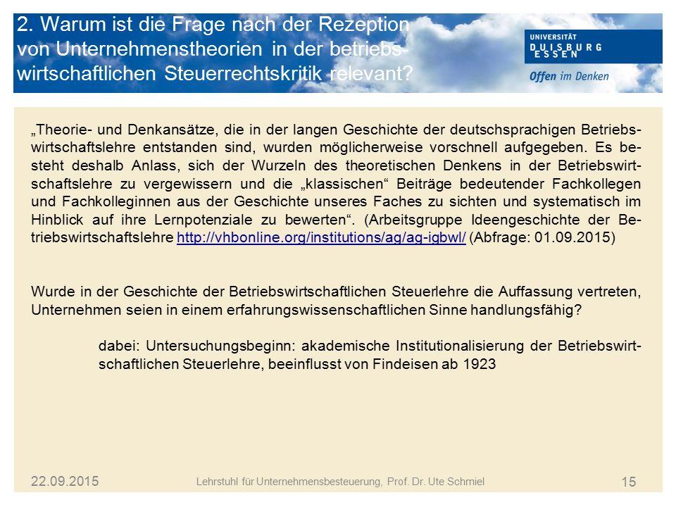 """15 Lehrstuhl für Unternehmensbesteuerung, Prof. Dr. Ute Schmiel 22.09.2015 """"Theorie- und Denkansätze, die in der langen Geschichte der deutschsprachig"""