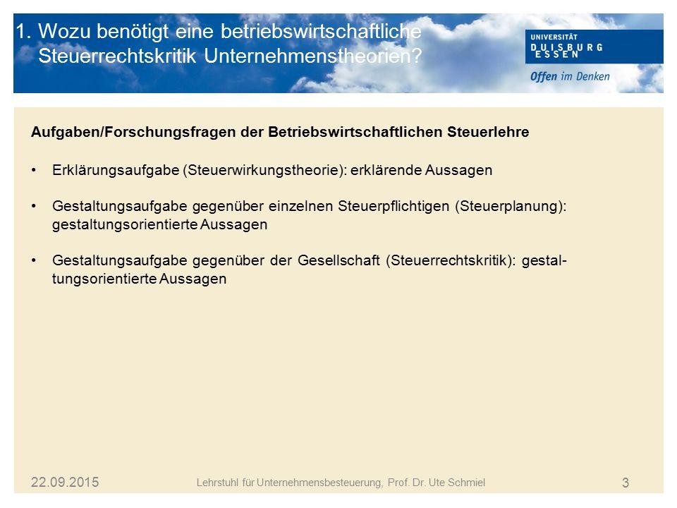 14 Lehrstuhl für Unternehmensbesteuerung, Prof.Dr.