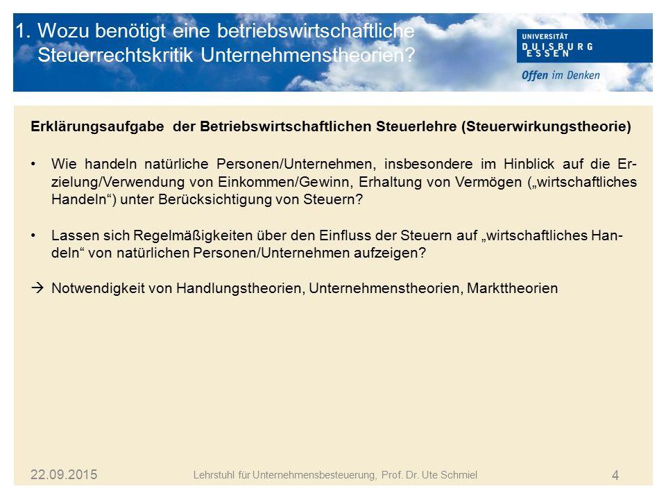 4 1. Wozu benötigt eine betriebswirtschaftliche Steuerrechtskritik Unternehmenstheorien? Lehrstuhl für Unternehmensbesteuerung, Prof. Dr. Ute Schmiel