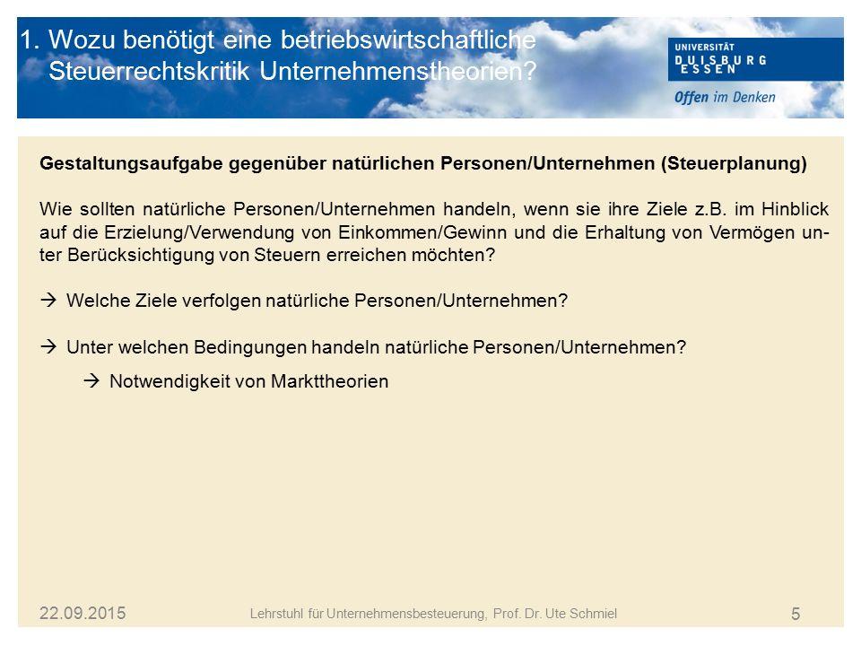 5 Lehrstuhl für Unternehmensbesteuerung, Prof. Dr. Ute Schmiel 22.09.2015 1. Wozu benötigt eine betriebswirtschaftliche Steuerrechtskritik Unternehmen