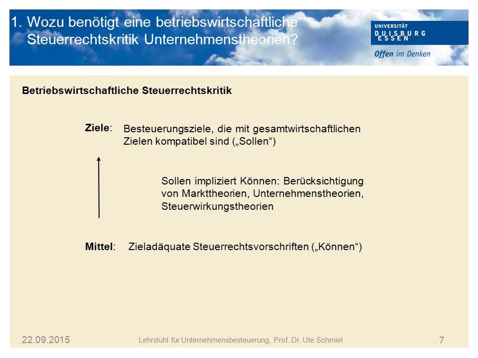 7 Lehrstuhl für Unternehmensbesteuerung, Prof. Dr. Ute Schmiel 22.09.2015 1. Wozu benötigt eine betriebswirtschaftliche Steuerrechtskritik Unternehmen