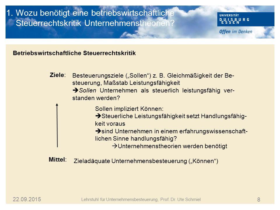 8 Lehrstuhl für Unternehmensbesteuerung, Prof. Dr. Ute Schmiel 22.09.2015 1. Wozu benötigt eine betriebswirtschaftliche Steuerrechtskritik Unternehmen