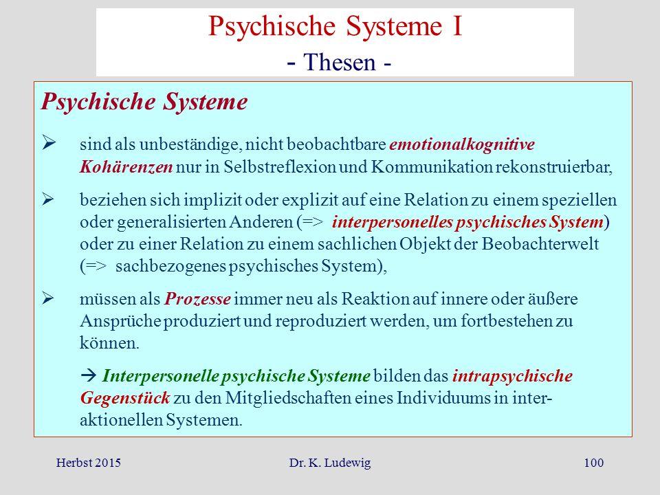Herbst 2015Dr. K. Ludewig100 Psychische Systeme  sind als unbeständige, nicht beobachtbare emotionalkognitive Kohärenzen nur in Selbstreflexion und K