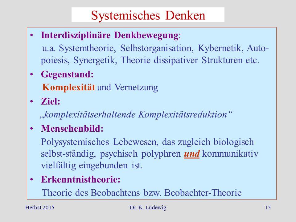 Herbst 2015Dr. K. Ludewig15 Interdisziplinäre Denkbewegung: u.a. Systemtheorie, Selbstorganisation, Kybernetik, Auto- poiesis, Synergetik, Theorie dis