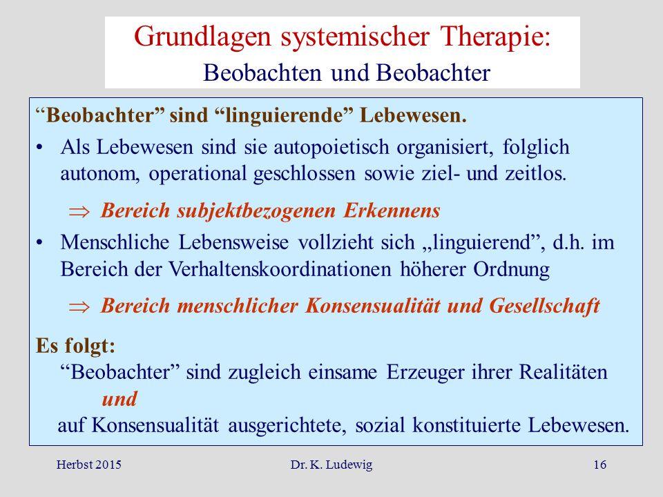 """Herbst 2015Dr. K. Ludewig16 """"Beobachter"""" sind """"linguierende"""" Lebewesen. Als Lebewesen sind sie autopoietisch organisiert, folglich autonom, operationa"""