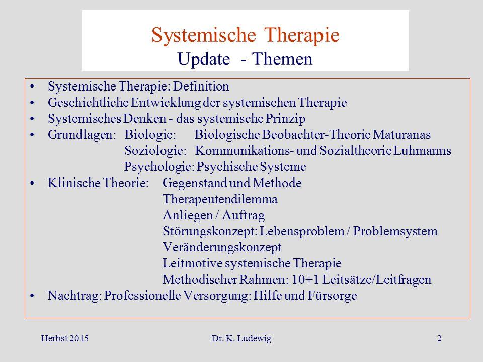Herbst 2015Dr. K. Ludewig2 Systemische Therapie: Definition Geschichtliche Entwicklung der systemischen Therapie Systemisches Denken - das systemische