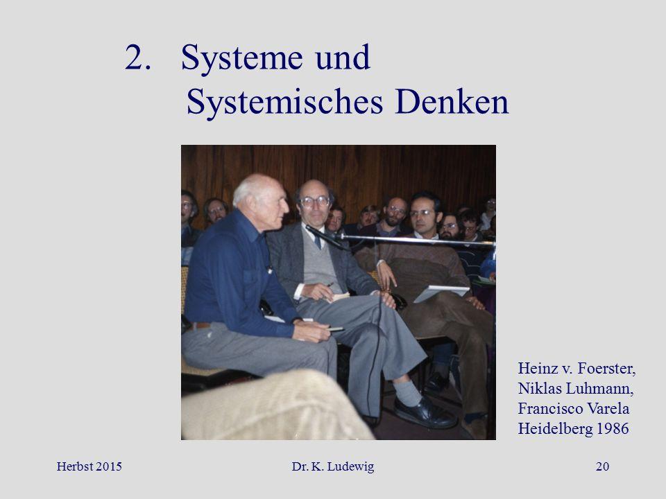 Herbst 2015Dr. K. Ludewig20 2. Systeme und Systemisches Denken Heinz v. Foerster, Niklas Luhmann, Francisco Varela Heidelberg 1986