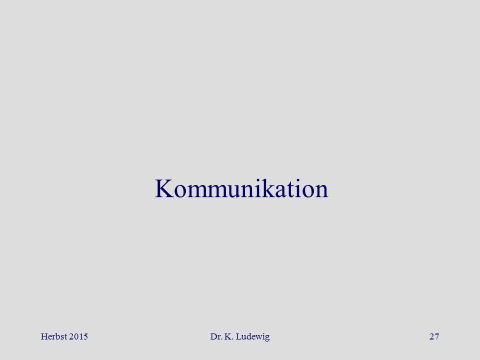 Herbst 2015Dr. K. Ludewig27 Kommunikation