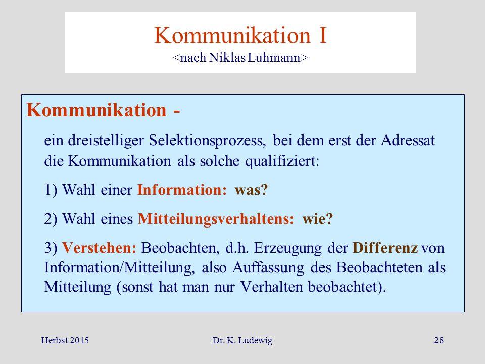 Herbst 2015Dr. K. Ludewig28 Kommunikation - ein dreistelliger Selektionsprozess, bei dem erst der Adressat die Kommunikation als solche qualifiziert: