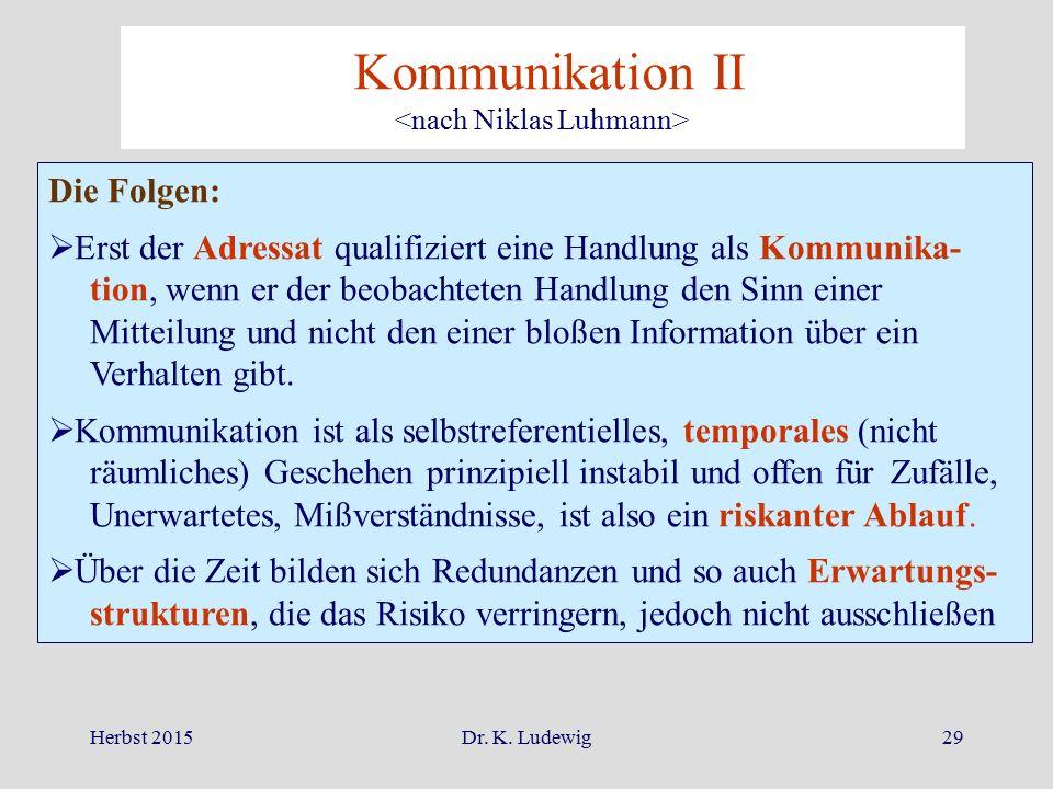 Herbst 2015Dr. K. Ludewig29 Kommunikation II Die Folgen:  Erst der Adressat qualifiziert eine Handlung als Kommunika- tion, wenn er der beobachteten