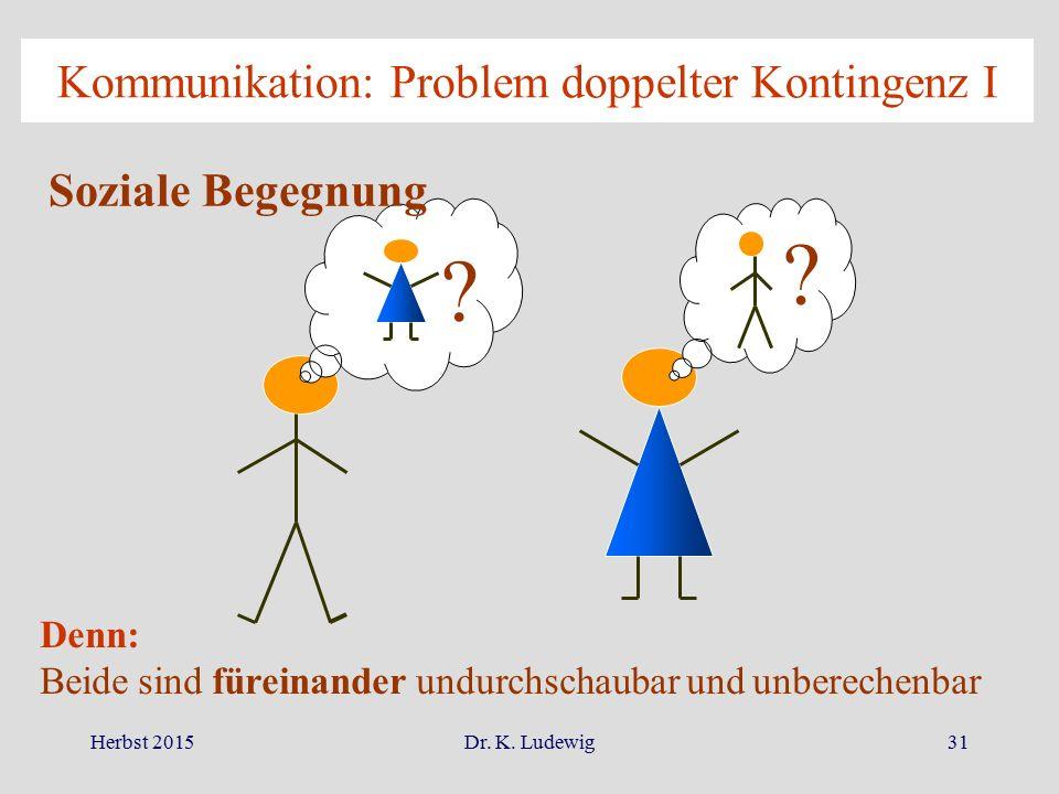 Herbst 2015Dr. K. Ludewig31 Kommunikation: Problem doppelter Kontingenz I Soziale Begegnung ? ? Denn: Beide sind füreinander undurchschaubar und unber