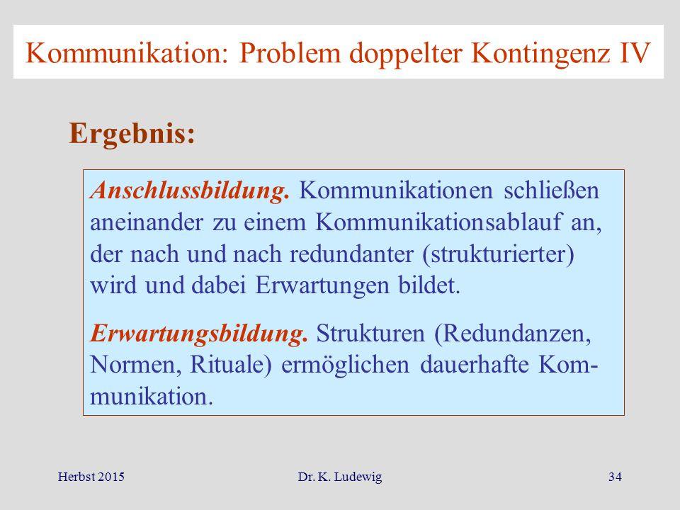 Herbst 2015Dr. K. Ludewig34 Kommunikation: Problem doppelter Kontingenz IV Ergebnis: Anschlussbildung. Kommunikationen schließen aneinander zu einem K