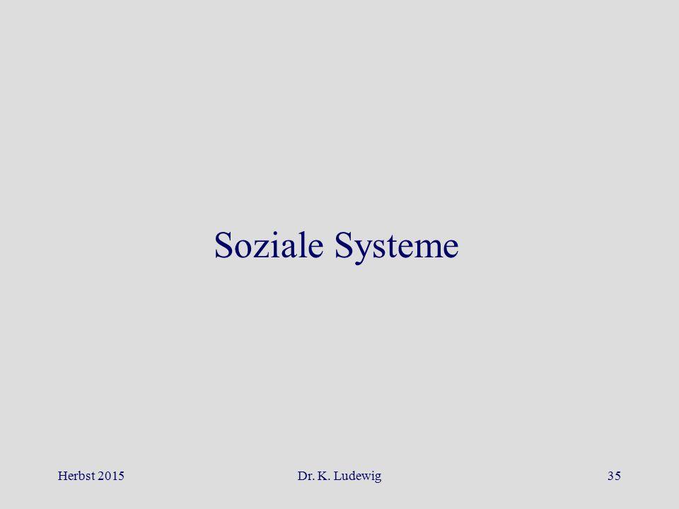 Herbst 2015Dr. K. Ludewig35 Soziale Systeme