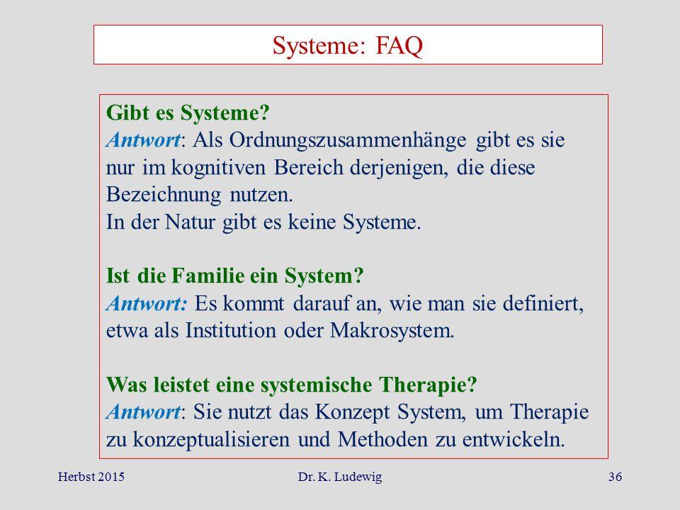 Herbst 2015Dr. K. Ludewig36 Systeme: FAQ Gibt es Systeme? Antwort: Als Ordnungszusammenhänge gibt es sie nur im kognitiven Bereich derjenigen, die die