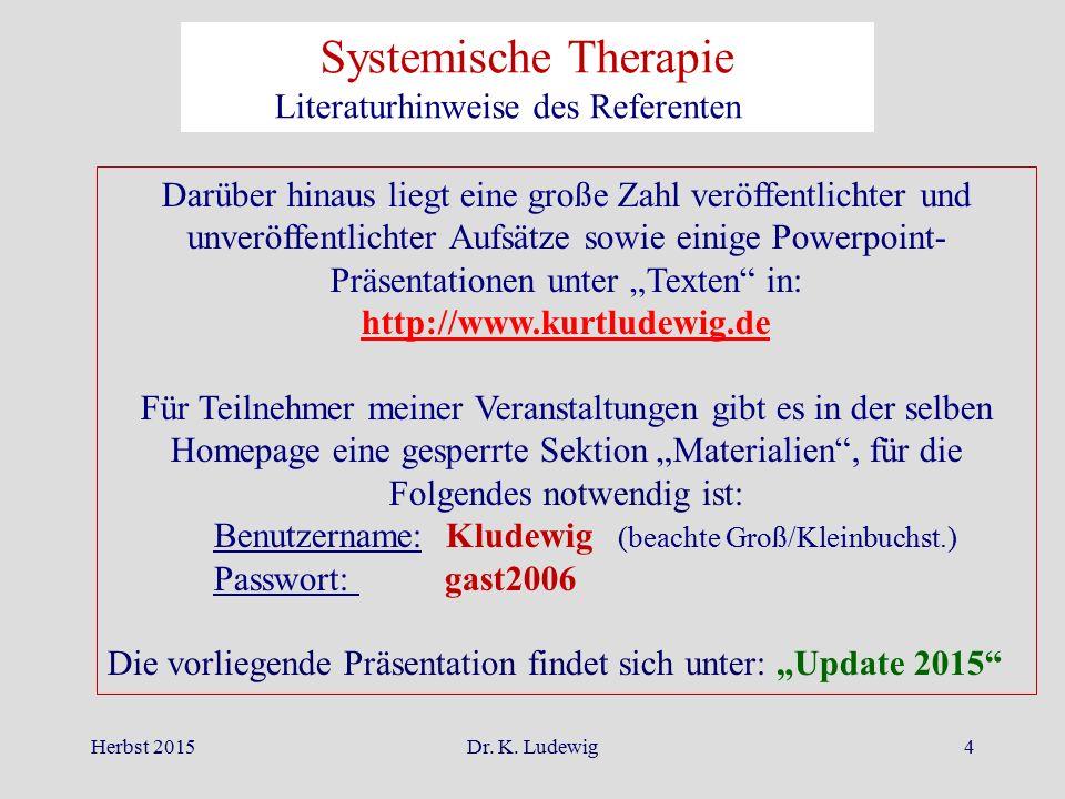 Herbst 2015Dr. K. Ludewig4 Darüber hinaus liegt eine große Zahl veröffentlichter und unveröffentlichter Aufsätze sowie einige Powerpoint- Präsentation