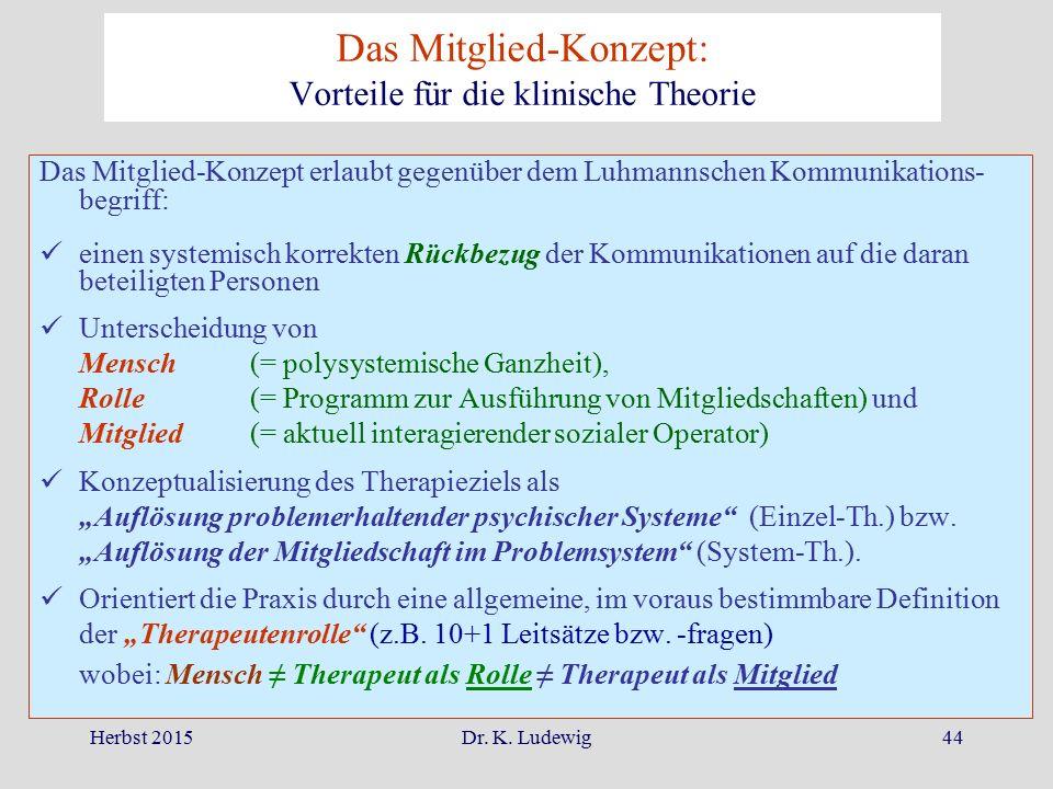 Herbst 2015Dr. K. Ludewig44 Das Mitglied-Konzept: Vorteile für die klinische Theorie Das Mitglied-Konzept erlaubt gegenüber dem Luhmannschen Kommunika