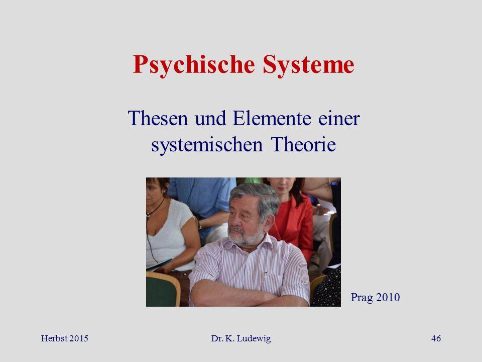 Herbst 2015Dr. K. Ludewig46 Psychische Systeme Thesen und Elemente einer systemischen Theorie Prag 2010