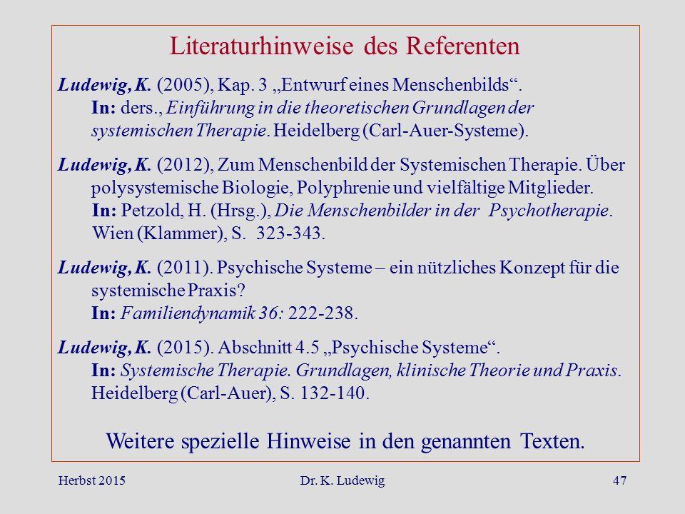 """Herbst 2015Dr. K. Ludewig47 Literaturhinweise des Referenten Ludewig, K. (2005), Kap. 3 """"Entwurf eines Menschenbilds"""". In: ders., Einführung in die th"""