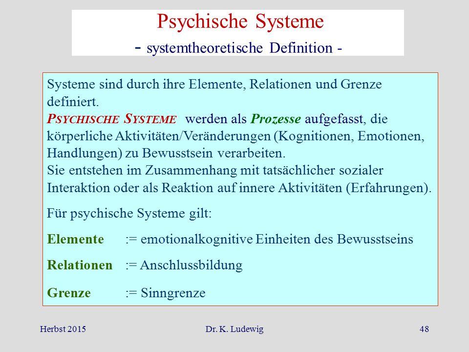 Herbst 2015Dr. K. Ludewig48 Systeme sind durch ihre Elemente, Relationen und Grenze definiert. P SYCHISCHE S YSTEME werden als Prozesse aufgefasst, di