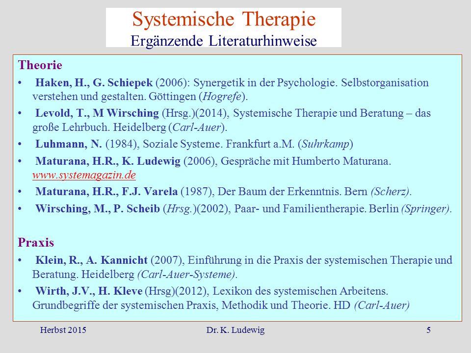 Herbst 2015Dr. K. Ludewig5 Theorie Haken, H., G. Schiepek (2006): Synergetik in der Psychologie. Selbstorganisation verstehen und gestalten. Göttingen