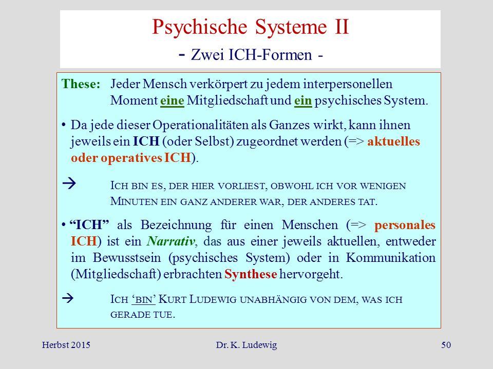 Herbst 2015Dr. K. Ludewig50 Psychische Systeme II - Zwei ICH-Formen - These:Jeder Mensch verkörpert zu jedem interpersonellen Moment eine Mitgliedscha