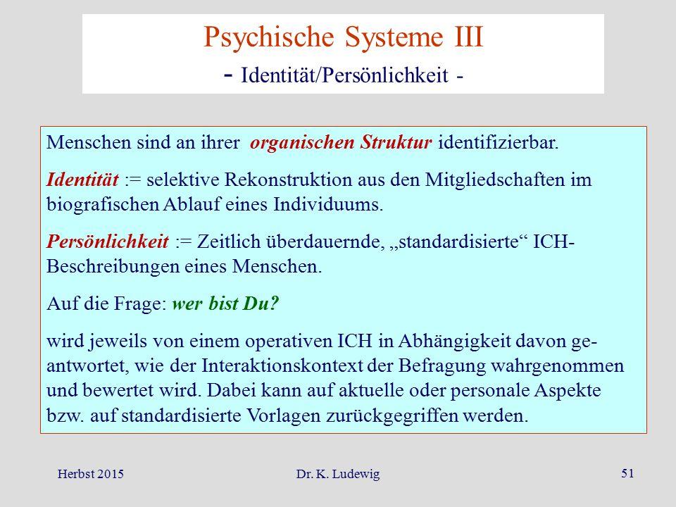 Herbst 2015Dr. K. Ludewig 51 Menschen sind an ihrer organischen Struktur identifizierbar. Identität := selektive Rekonstruktion aus den Mitgliedschaft