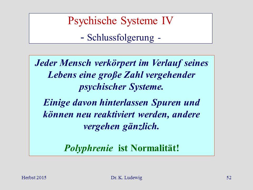Herbst 2015Dr. K. Ludewig52 Jeder Mensch verkörpert im Verlauf seines Lebens eine große Zahl vergehender psychischer Systeme. Einige davon hinterlasse